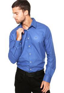 Camisa Triton Bordado Azul