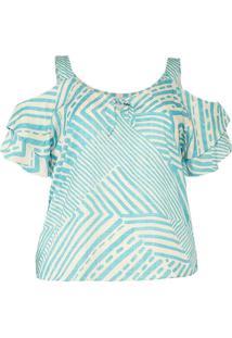 Blusa Estampada Almaria Plus Size Peri Azul