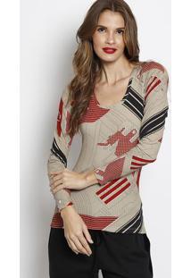 Blusa Canelada Com Tag- Marrom Claro & Vermelha- Forforum