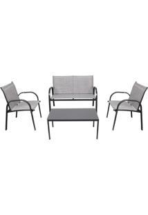 Conjunto Para Jardim Bel Lazer 83506 Weekend Mesa Com 3 Cadeiras Cinza