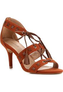 Sandália Couro Shoestock Tassel Salto Alto Nobuck Feminina - Feminino-Caramelo