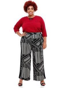 8419f0b191a79f Zattini Calça Pantalona Melinde Plus Size Roujan Feminina - Feminino-Preto