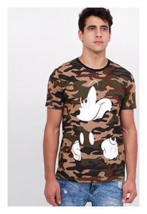 Camiseta Camuflada Com Estampa Mickey