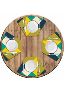 Jogo Americano Love Decor Para Mesa Redonda Wevans Abstract Yellow Kit Com 4 Pçs