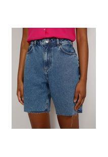 Bermuda Jeans Feminina Cintura Alta Marmorizada Com Barra A Fio Azul Médio