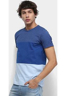 Camiseta Tommy Hilfiger Colour Block Texture Masculina - Masculino-Azul