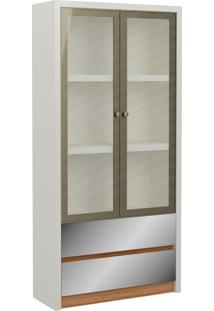 Estante P/ Livros 2 Portas 2 Gavetas 90Cm Tc613E Off White/Freijo - Dalla Costa