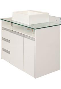 Gabinete De Banheiro Azzera 1 Pt 4 Gv Branco 86 Cm
