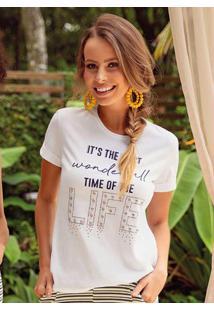 Blusa Com Estampa Com Tipografia Branco Cativa
