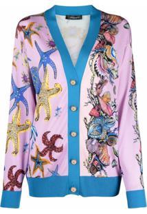 Versace Cardigan Gola V Com Estampa Estrela Do Mar - Azul