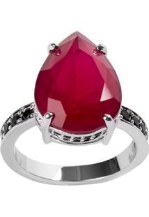 Anel Gota The Ring Boutique Pedra Cristal Vermelho Rubi Ródio Ouro Branco