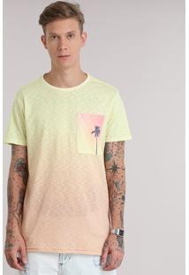 Camiseta Flamê Degradê Com Bolso Estampado De Coqueiro Amarela