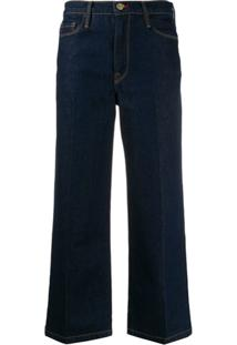 Frame Ali Wide-Leg Cropped Jeans - Azul