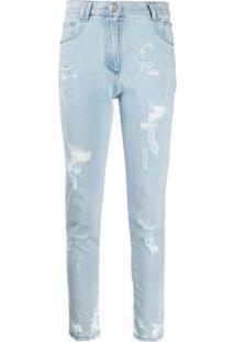 Balmain Calça Jeans Slim Destroyed - Azul