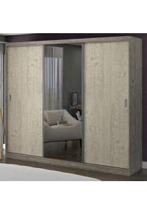 Guarda-Roupa Casal 3 Portas Com 1 Espelho 100% Mdf 1902E1 Demol/Marfim Areia - Foscarini
