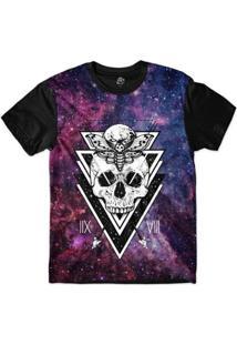 Camiseta Bsc Galáxia Caveira Borboleta Lua Sublimada - Masculino-Preto