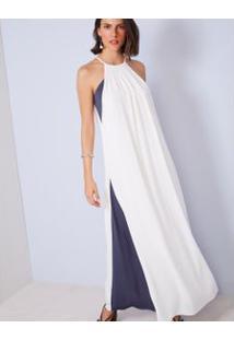 Vestido Longo Bicolor Offwhite / M