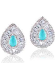 Brinco Giullia Ferraz Store Gota Cravejado Feminino - Feminino-Azul Claro