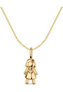 Pingente Menina Ouro Amarelo E Diamantes 15 Mm