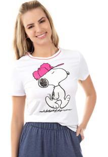 Blusa Com Detalhe De Retilínea Branco Snoopy
