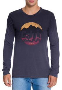 Camiseta Ckj Ml Est Montanhas - Azul Marinho - G