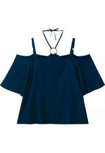 Blusa Viscose Maquinetado Com Abertura Nos Ombros Wee! Plus Size - Feminino-Marinho