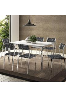 Mesa 1526 Branca Cromada Com 6 Cadeiras 1709 Fantasia Preto Carraro