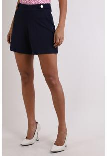 Short Feminino Básico Cintura Alta Com Botões E Bolsos Azul Marinho