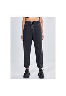 Calça Baggy Em Jeans Black Com Cinto
