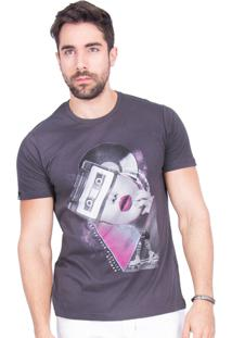Camiseta Rota Do Mar Rosto Vinílico Cinza