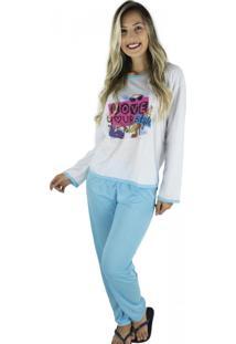Pijamas Mvb Modas Longo Fechado Adulto Feminino Inverno Azul