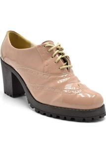 Sapato Oxford Feminino Verniz Flor Da Pele - Feminino-Nude