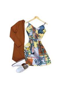 Cardigan Kimono Casaco Feminino Assimétrico Liso