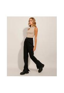 Calça Reta Jeans Com Fenda Cintura Super Alta Preta
