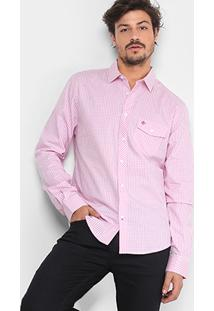 Camisa Xadrez Forum Clássica Vichy Bolso Masculina - Masculino-Rosa Claro