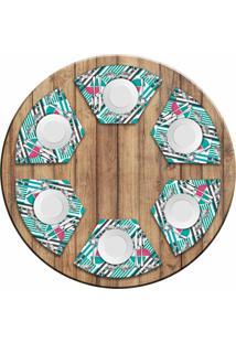 Jogo Americano Love Decor Para Mesa Redonda Wevans Flamingos Geométricos Kit Com 6 Pçs