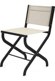 Cadeira Dobravel Belmont Assento Tela Branca Com Base Aluminio - 44536 - Sun House
