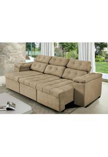 Sofa Itália 2,40 Mts Retrátil E Reclinavel Tecido Suede Castor - Cama Inbox