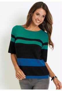 Blusa De Tricô Com Fenda Listrada Verde E Azul