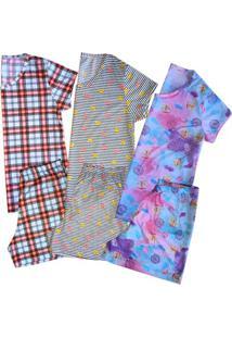 Kit 3 Pijamas Short Doll Plus Size Feminino Sortido