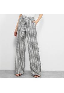 Calça Pantalona Carmim Estampada Faixa Cintura Feminina - Feminino-Preto