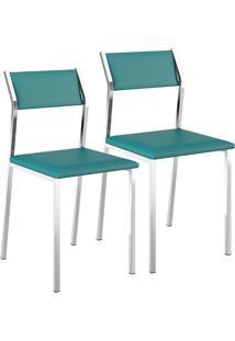 Cadeira 1709 Cromada 02 Unidades Napa/Turquesa Carraro