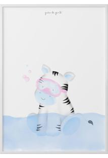 Quadro Amiguinha Zebra Azul No Banho 40Cm Grão De Gente Azul