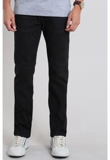 Calça Jeans Masculina Reta Com Pespontos Preta