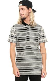 Camisa Polo Mcd Reta Listrada Cinza/Verde