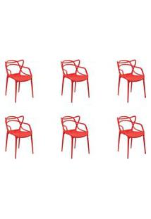 Kit 06 Cadeiras Allegra Vermelha Rivatti