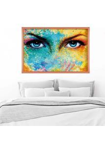 Quadro Love Decor Com Moldura Blue ÍRis Rose Metalizado Mã©Dio - Multicolorido - Dafiti