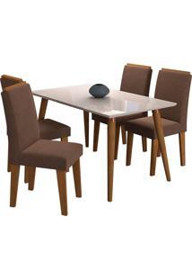 Conjunto De Mesa Com 4 Cadeiras Para Sala De Jantar 130X80 C/ Moldura Adele/Milena-Cimol - Madeira / Off White / Sav / Chocolate