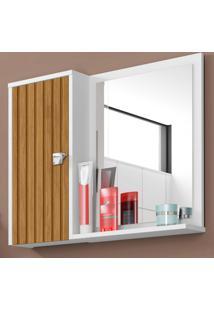 Armário De Banheiro Gênova Branco/Marrom - Bechara Móveis