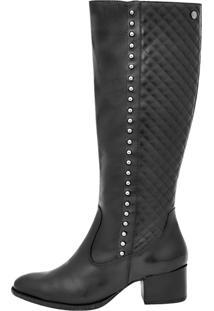 Bota Montaria Corazzi Leather Deluxe Matelassê Spikes Preta